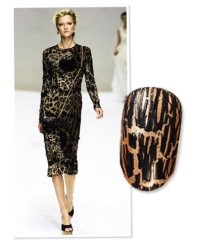 nails - leopard print - runway - dolce & Gabbana