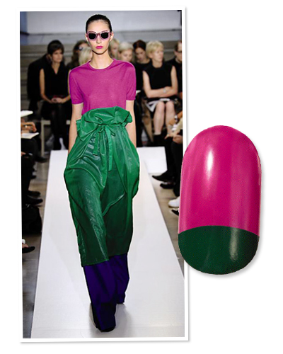 nails - color block - pink - green - jil sander