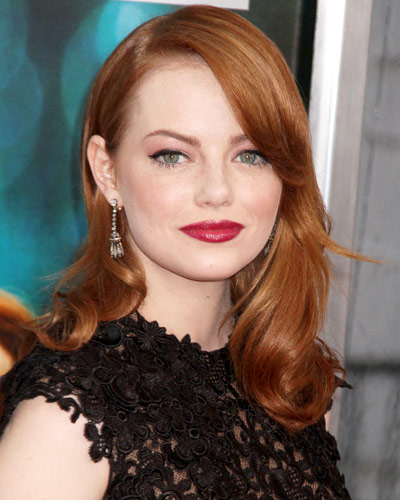 Emma Stone - 25 Stars in Red Lipstick - Red Lips