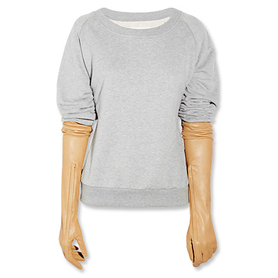 Maison Martin Margiela Sweater with Leather Gloves