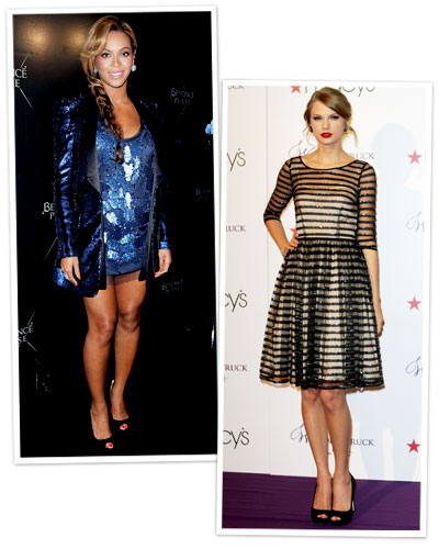 Beyonce and Taylor Swift in sequin dresses
