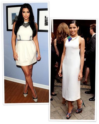 Kim Kardashian and Freida Pinto in white dresses