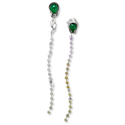 Alexandra Mor Emerald and Diamond Flower Earrings