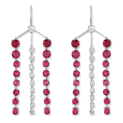 Suzanne Felsen Rubellite and Spinel Diamond Earrings
