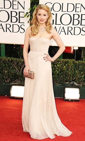 Dianna Agron - J. Mendel - Ferragamo - Cathy Waterman - Golden Globes 2011