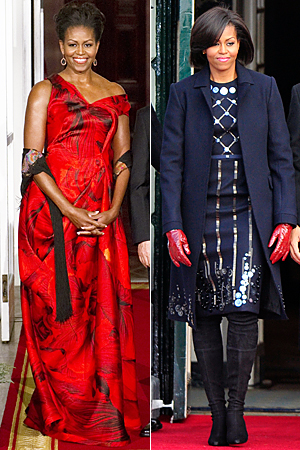 Michelle Obama in Alexander McQueen and Roksanda Ilincic