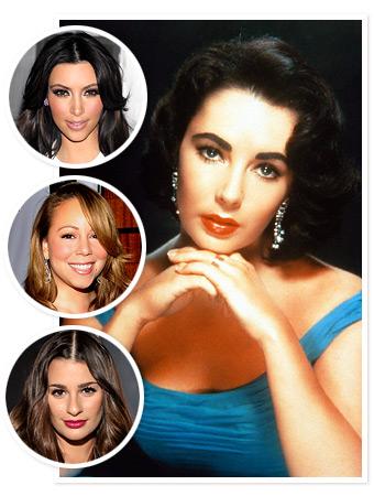 Elizabeth Taylor, Kim Kardashian, Mariah Carey, Lea Michele