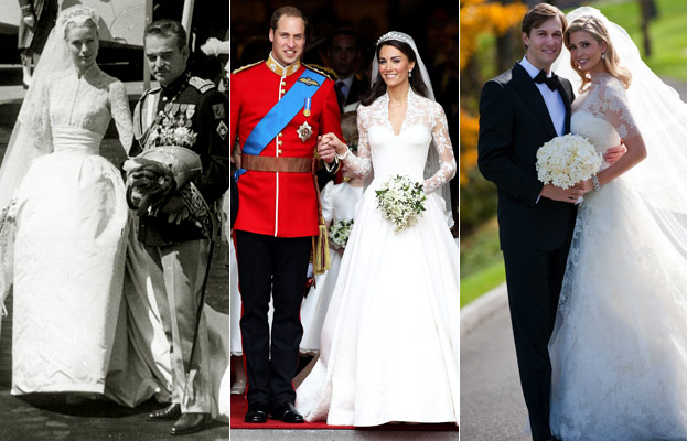Kate Middleton 39s Wedding Dress Lace Sleeves Like Grace Kelly and Ivanka