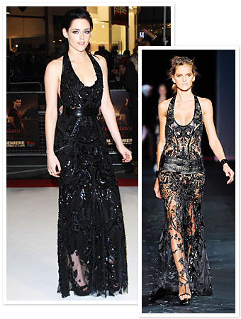 Black   Dress on Kristen Stewart   S Black Dress  Runway To Red Carpet    Instyle Com