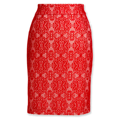 Fall Fashion - Bright Lace Skirt - Kay Unger