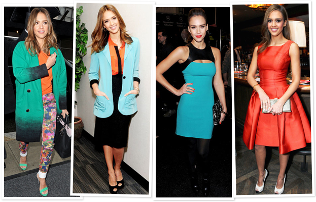 Jessica Alba Color outfits
