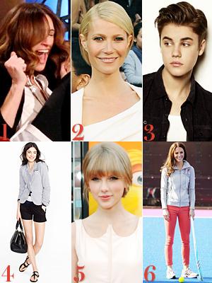Julia Roberts, Gwyneth Paltrow, Justin Bieber