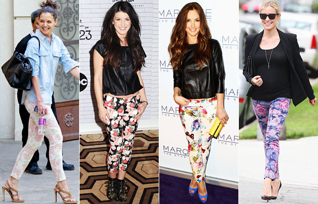 celebrities in floral jeans