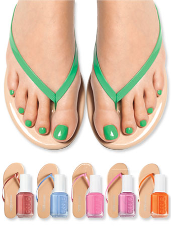 Essie nail polish and Tkees flip-flops