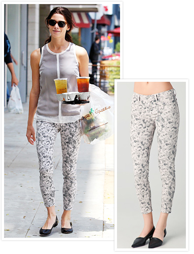 Ashley Greene floral jeans