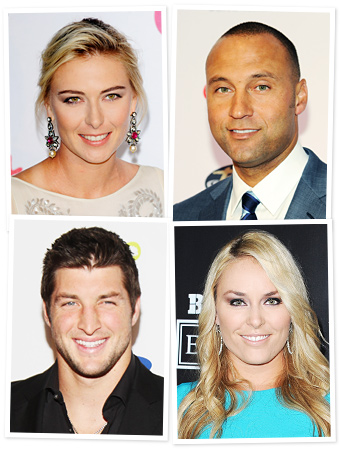 Maria Sharapova, Derek Jeter, Tim Tebow, Lindsey Vonn