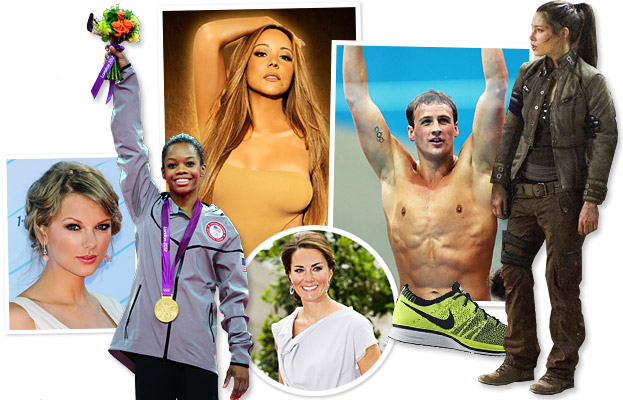 Gabby Douglas, Mariah Carey, Taylor Swift, Ryan Lochte, Kate Middleton, Jessica Biel