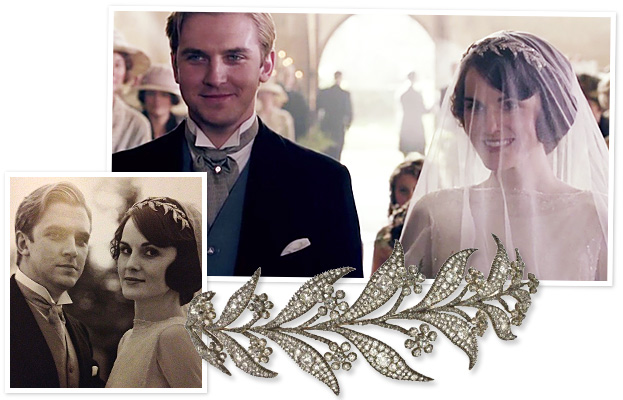 Downton Abbey Wedding, downton abbey jewelry, lady mary tiara, lady mary wedding