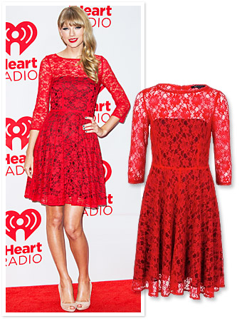 Taylor Swift red lace dress