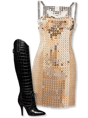 Gucci Boots and Versace Dress