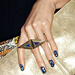 Manicure to Try: Deep Blue and Gold Flakes