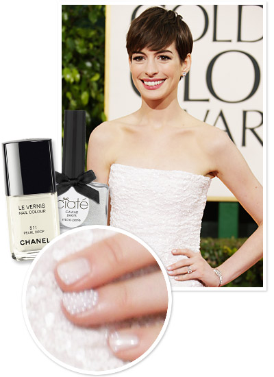 Look of the Day photo | Anne Hathaway's Caviar and Pearl Manicure