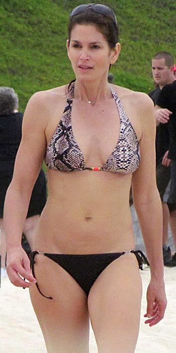 Cindy Crawford in a snake-print bikini