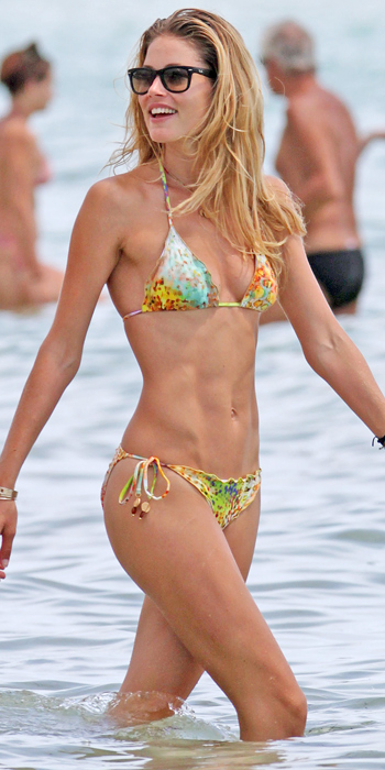 Doutzen Kroes in a bright string bikini