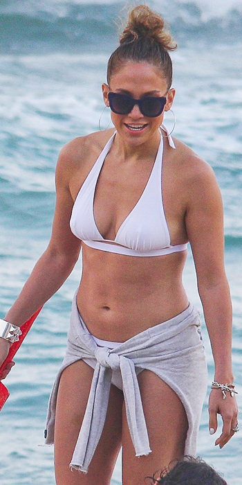 Jennifer Lopez in a white two piece