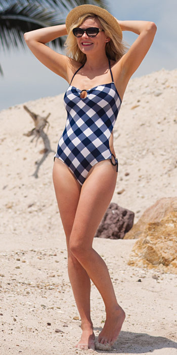 Kirsten Dunst in a gingham one piece