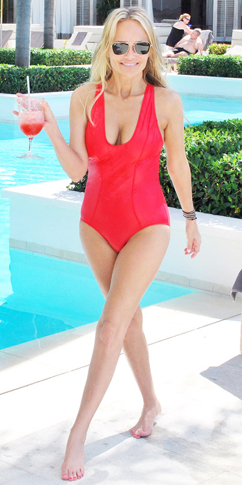 Kristin Chenowith in a plunging one piece