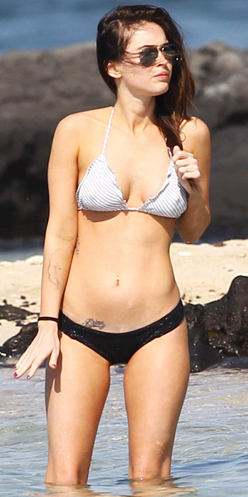 Megan Fox in a black and white bikini