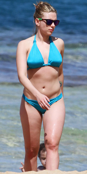 Scarlet Johansson in a bright blue two piece