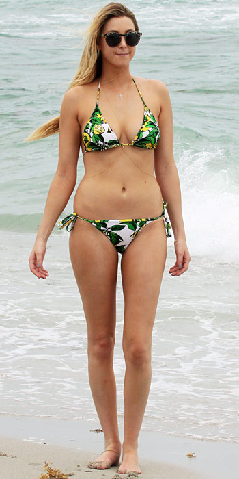 Whitney Port in a printed triangle bikini