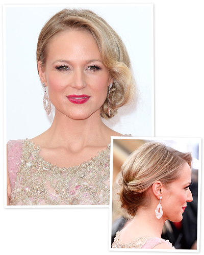 For a fresh take on a classic updo, try Jewel's romantic, side-sweeping chignon. To achieve this elegant style, hairstylist Nikki Lee first ...