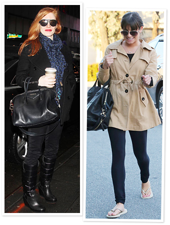 Celebrities Bundle Up: Jessica Chastain, Lea Michele, and More