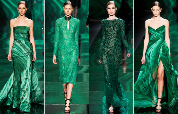 Monique Lhuillier emerald green