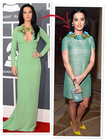 Katy Perry Grammys 2013 on Guess What  Katy Perry Changed Out Of Her Green Grammys Dress After