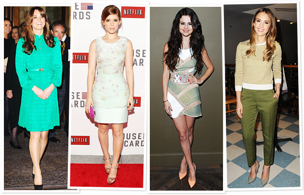 st. patrick&#039;s day celebrities green clothes