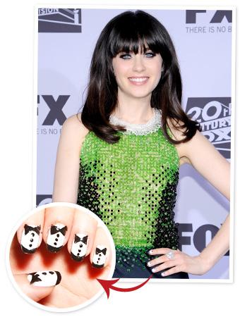 Zooey Deschanel Nails - Tuxedo Manicure