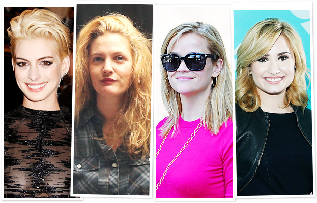 Blonde hair - Anne Hathaway, Drew Barrymore, Reese Witherspoon, Demi Lovato