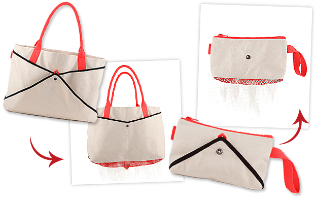 Shake beach tote and clutch