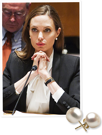 Angelina Jolie and Pearl Paradise earrings