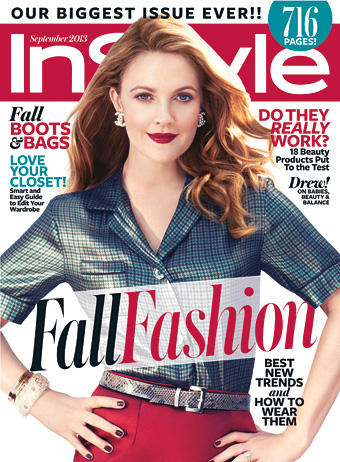 InStyle September cover with Drew Barrymore