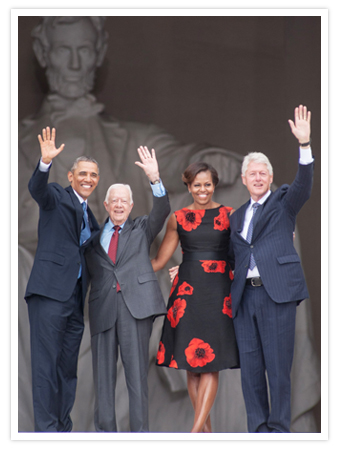 President Obama, Jimmy Carter, Michelle Obama and Bill Clinton
