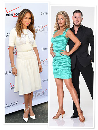 Jennifer Lopez and Elizabeth Berkley with Val Chmerkovskiy