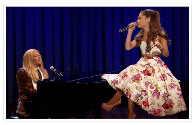 Jimmy Fallon and Ariana Grande