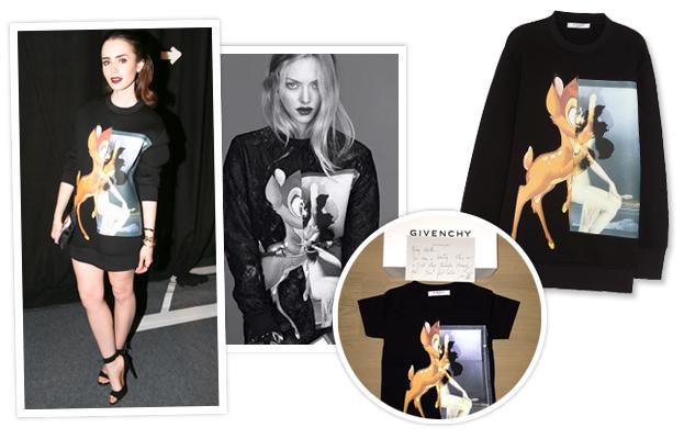 Lily Collins, Amanda Seyfried, Givenchy Bambi Sweatshirt