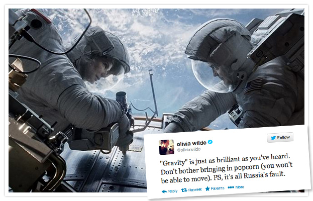 Sandra Bullock and George Clooney in Gravity and Olivia Wilde Tweet