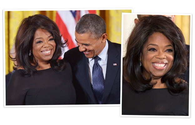 Oprah Hair - Presidential Medal of Freedom Awards Ceremony